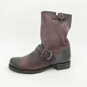 Frye Veronica Short Boots Waxed Leather Buckle